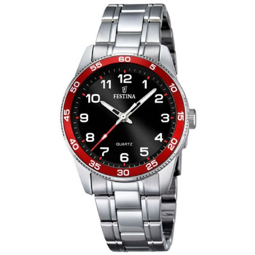 F16905/3 Festina ladies stainless steel red and black bracelet watch with arabic dial